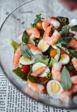 Salad with shrimp and egg