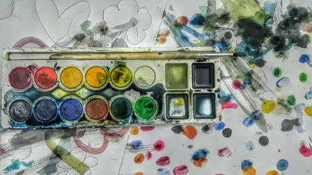 colour: A water colour painting by a two years old girl for the purpose of learning and fun