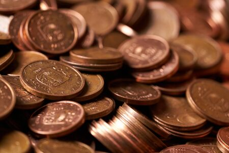 Euro coins currency of the European union. Close-up euro coins Stock fotó