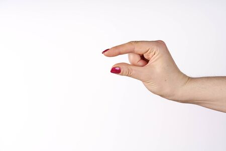 hand showing size isolated on white background with clipping path