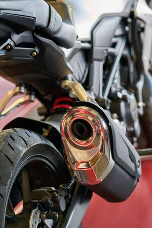 Close up shot of a motorcycle exhaust pipes