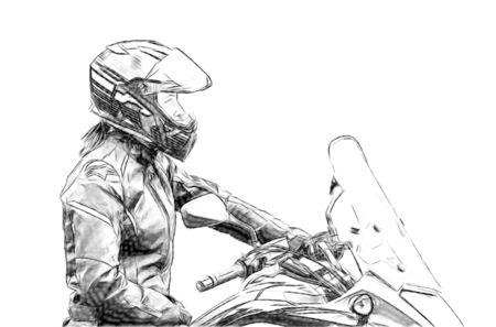 Motorcycle gymkhana sport. A biker on a motorcycle Motorcycling