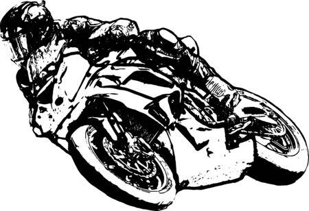 Motorcyclist at sport bike rides by empty asphalt road. sport bike.