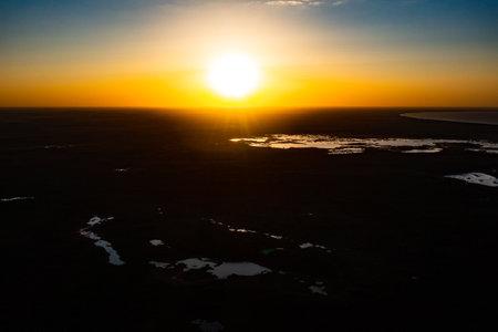 Beautiful Sunrise Sunset over Calm Lake