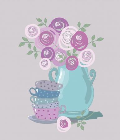cliche: t� de fondo con tazas de t� y flores