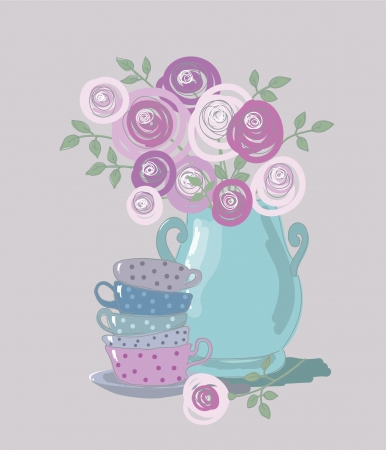 tea time: tea background with teacups and flowers Illustration