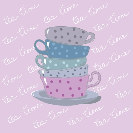 tea time background with teacups Stock Vector - 15312359