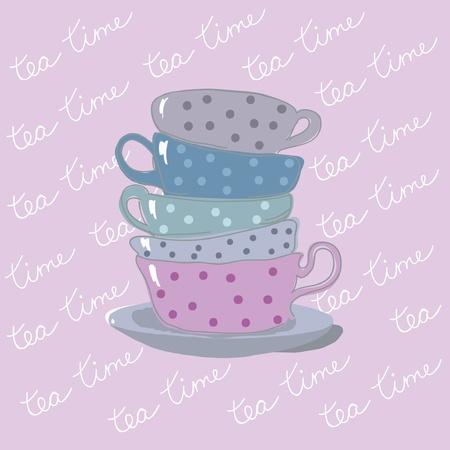 teabag: tea time background with teacups