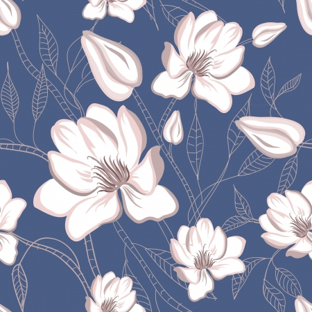 Original seamless floral pattern with magnolia flowers Vector