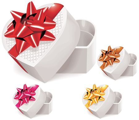 Valentine heart shaped box with bow in four colors Vector