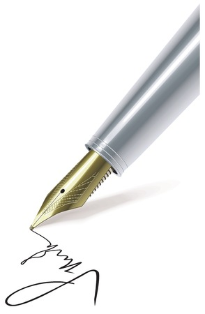 Fountain pen writing on paper Vector