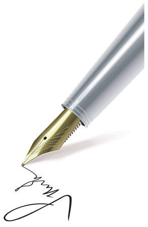 fountain pen: Fountain pen writing on paper