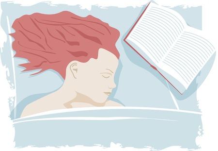 im bett liegen: Frau schlafen auf dem Bett mit Buch Illustration
