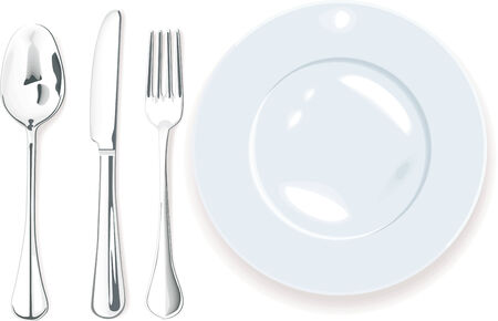formal place setting: Vector. Dinner-plate, spoon fork and knife