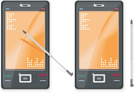 Vector PDA and stylus in two views Vector