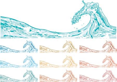 fresh water splash: Vector Spritzwasser in 10 T�nen Illustration