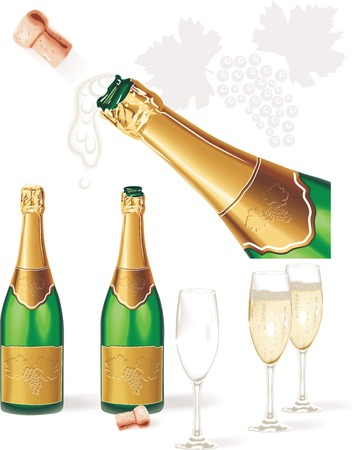 champagne glasses: Detailed vector. Champagne bottle, glasses, cork