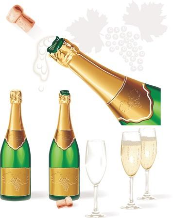 botella champagne: Vector detallada. Botella de Champagne, gafas, corcho  Vectores