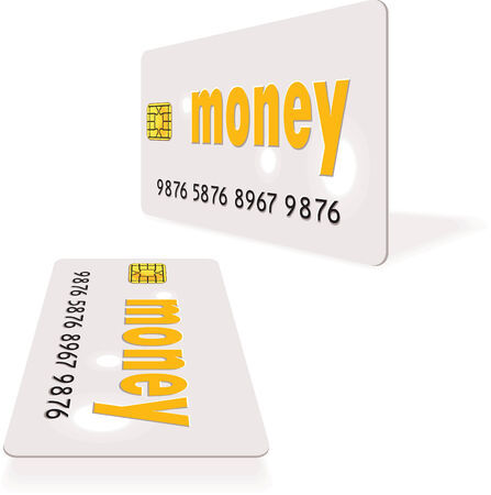 White vector credit card in two views Vector