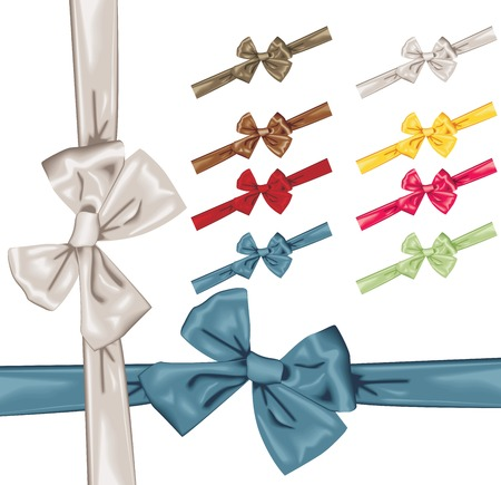 Vector satin bows with ribbon in 8 colors Vector