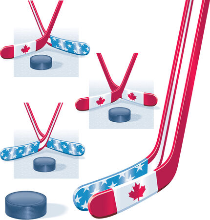 Hockey sticks in USA and Canada flag colors and puck Illustration