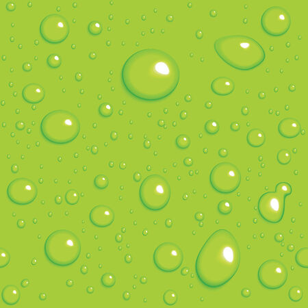 Seamless vector background. Green drops on glass Vector