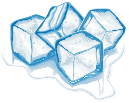 frigid: Four blue melting ice cubes in vector
