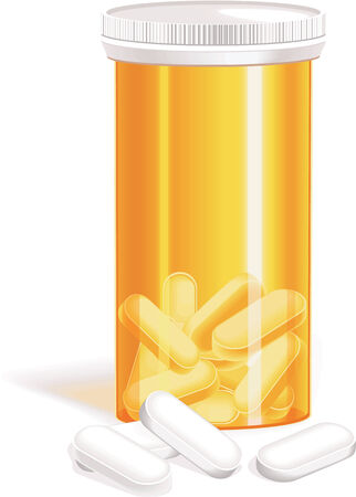 vitamins pills: Vector bottle of pills Illustration