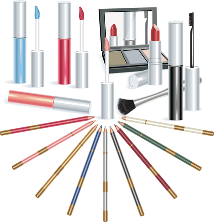 Set of makeup objects, vector illustration