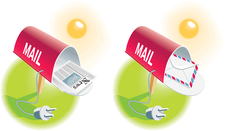 E-mail-Mail boxes with newspaper and envelope and power cords Vector