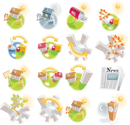 house exchange: 12 real estate detailed icons Illustration