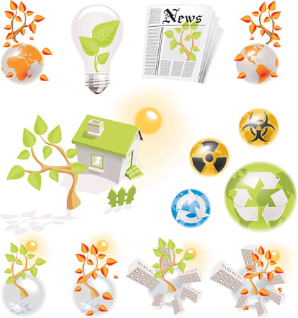 Ecology icons set Stock Vector - 4313842