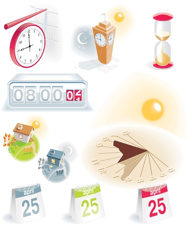Time and calendar icons set Illustration