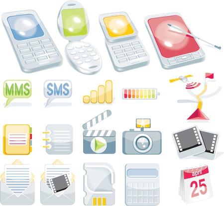 agenda electr�nica: Celular icono conjunto