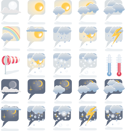 sunny cold days: Day and night weather forecast icons Illustration