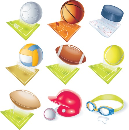 Detailed soccer, football, basketball, volleyball, rugby, hockey, swimming, basebal and tennis equipment with sport fields