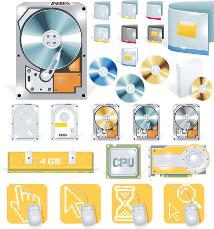 computer memory: Vector software and hardware detailed icon set Illustration