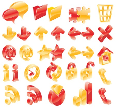Red and yellow web/blog icons Stock Vector - 4369353