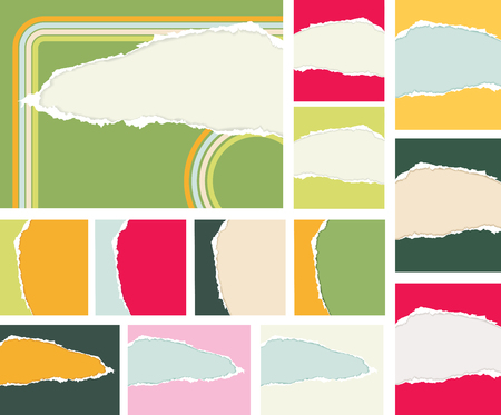 Vector detailed ripped paper set. Various forms and colors Vector