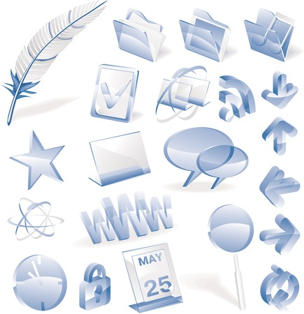 Set of blue glass icons for webblog or other network related themes Vector