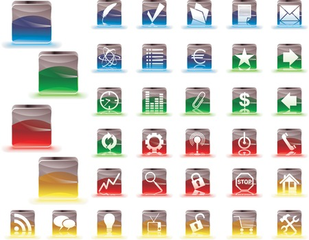Set of icons in color glassy cubes. Easy to edit Vector