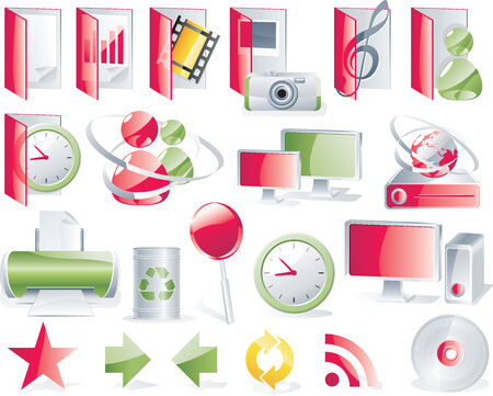 Vector glossy icon set. Computer/network theme Stock Vector - 4397243