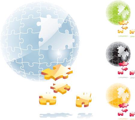 dropped: Vector esfera puzzle con elementos abandonado