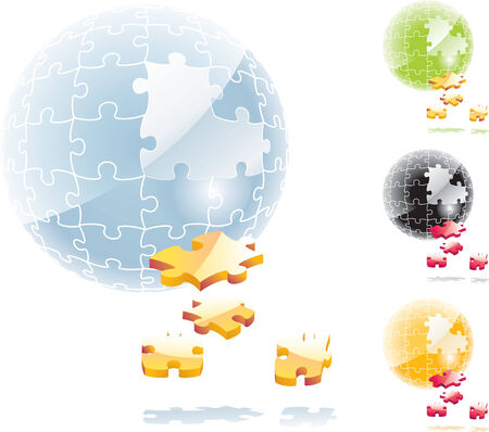Vector puzzle sphere with dropped out elements Stock Vector - 4397245