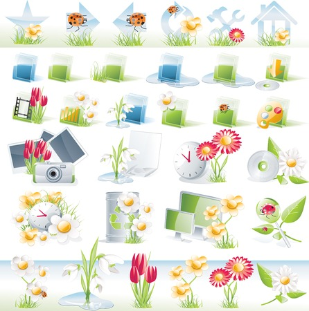 home video camera: Flower theme glossy icon set