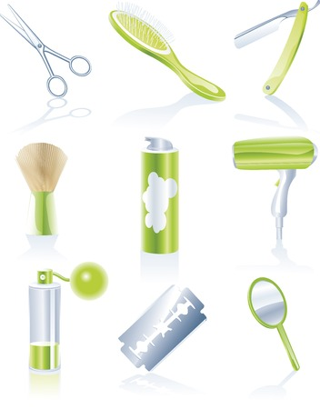 Vector hairdresser accessories icon set Vector