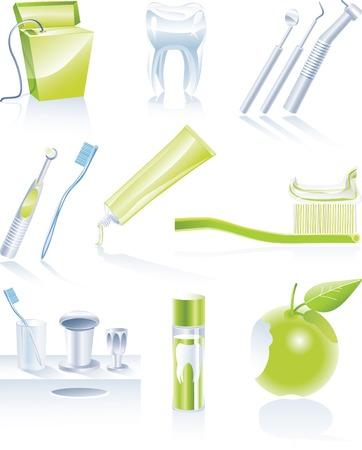bitten: Dentales vector icono conjunto