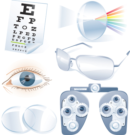Ophthalmology vector icon set Illustration