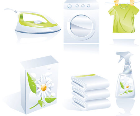 detergents: Dry cleaners vector icon set