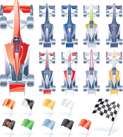 motor race: Vector formule auto's en vlaggen Stock Illustratie